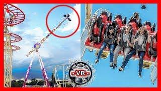 回転する遊園地の絶叫マシーンのアトラクションVR動画