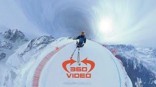 凄いスピードで滑り降りるスキー競技 アルペンスキーのVR動画