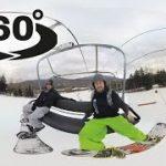 スノーボードで雪山を滑るVR動画