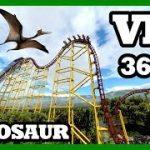 恐竜のテーマパークに設置されているようなジェットコースターのVR動画