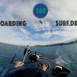 カイトを使ってサーフィンをするカイトボーディングのVR動画